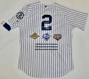 Auto Mlb/steiner Le22 Derek Jeter Ny Yankees 96/99/09 World Series Champs Jersey