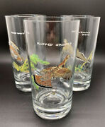 3 Vintage Ned Smith Wild Bird Collection Drinking Beer Bar Glass Tumblers Signed