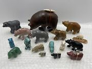 Estate Lot Of Small Carved Bear Polished Rock, Turquoise, Jade Figurines