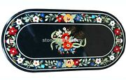 26x52 Black Marble Dining Table Top Marquetry Floral Inlay Home Decorate B235a