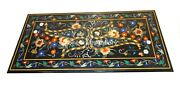 6and039x3and039 Black Marble Top Counter Table Multi Stone Floral Inlay Hallway Decor B144