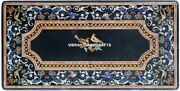 Black Marble Top Dining Table Inlaid Floral With Birds Handmade Home Decor H3858