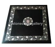 32 Black Marble Coffee/dining Table Top Mother Of Pearl Inlay Floral Decor B122