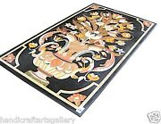 4and039x2and039 Black Marble Kitchen Table Top Rare Mosaic Inlay Marquetry Home Deco H2498