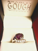 One Of A Kind Amethyst And Diamond White Gold 14k Ring Russian Made Must See Sz 9