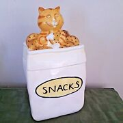 Cat Snacks Cookie Jar Treat Jar 2006 Ceramic Lang 5043002 By Ned Young Kitten