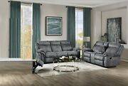Living Room Modern Tufted Furniture Gray Color Velvet Reclining Sofa And Love Seat