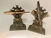 Rare Antique Charles Lindbergh Airplane Propeller Engine Commemorative Bookends