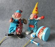 Vintage Sonni Toys Drum And Cymbal Playing Clown Figures - Made In Germany 1960's