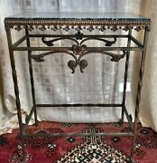 """Antique French Art Nouveau Marble Top Wrought Iron Console Table 28"""" H X 22.5"""" W"""
