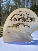 Antique 19th Century Large Chinese Mother Of Pearl Shell Carving Farm Scene