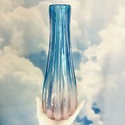 Vintage Mazzega Murano Art Glass Vase Opalescent Blue Pink Pearl Paper Signed