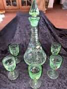 Vintage Light Green Glass Decanter W/ Stopper And 5 Glasses-handpainted Flowers
