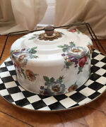 Mackenzie Childs Courtly Check And Floral Cake Plate And Cover
