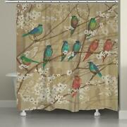 Artistic Birds On Branches Floral Fabric Shower Curtain Beige W/multi 71 X 74