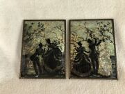 Vintage Pair Of Reverse Painted Convex Glass Silhouette Pictures