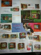1960's Motorola Rectangular Tv Advertising Brochure Solid State Space Age Color