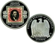 Abraham Lincoln Presidential Stamp Commemorative Coin Proof Value 99.95