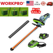 Workpro 20v Cordless Hedge Trimmer 20 Dual Action Blade 2.0ah Battery And Charger