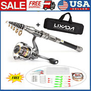💥telescopic Fishing Rod Spinning Pole Reel Combo Full Kit With 100m Line And Bag
