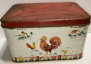Vintage Decoware Metal Tin Bread Box Red Hinged Lid Rooster Chicken Barn Scene