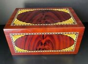 Vintage Finished Wooden Storage Box With Lid 7.7andrdquo Tall With Hygrometer