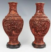 Pair Of Intricately Carved Chinese Cinnabar Vases 16