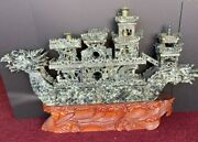 Big Chinese Carved Jade Dragon Boat With Wooden Stand 29.5andrdquo