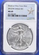 2012-w Ngc Ms 69 American Silver Eagle Dollar Ase West Point Mint