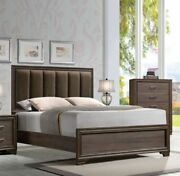 Low Profile Footboard Fabric Padded Headboard 4pc East King Solid Wood Furniture