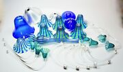 Signoretti Murano Italy Glass Chandelier Parts Cobalt Blue Green Clear 36 Parts