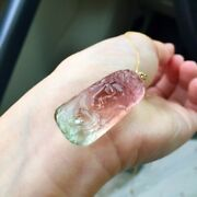 30178.5mm Natural Clear Watermelon Tourmaline Crystal Carving Pendant Aaaa