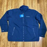 New Columbia Mens Fleece Lined Northern Voyage Jacket Casual Blue Xl