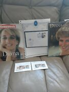 Princess Diana Porcelain Doll With Calendar,stamp Collection And Magazine