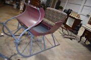 Restored Antique Portland Cutter Sleigh With 2 Sets Of Poles And Yoke Horse Sled