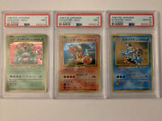 Pokemon Japanese Cd Promo Psa Mint Charizard Venasaur And Blastoise Sequential