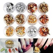 Uooker 12 Boxes Foil Nail Art Chip Glitter Gold Silver Copper Rainbow Nail Fo...