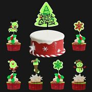 34pcs Christmas Cupcake Toppers Picks Merry Christmas Cake Topper Glow In The...