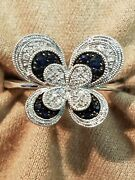 Sterling Silver Diamond And Sapphire Butterfly Ring Almost A Size 6 See Pic