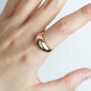 14k Solid Gold Dome Ring Thick Wide Dome Shape Stacking Ring