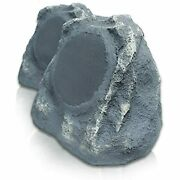 Wireless Extreme Outdoor Landscaping Stereo Rock Speakers 2 Pack Gray Slate 110v