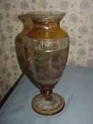 Vintage R Wurtig Bohemian Cut Glass Amber Flashed Hand Painted Vase Antique 19th
