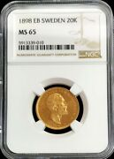1898 Eb Gold Sweden 20 Kronor Coin Oscar Ii Ngc Mint State 65