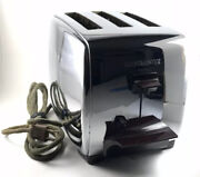 Vintage 50and039s Chrome Toastmaster Model 1c5 Automatic 3-slice Pop Up Toaster Works