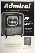 1950 Admiral Television Tv Huge 19 Inch Console Rotoscope Antenna Print Ad