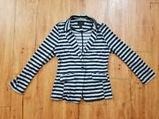 Timing Academy Blazer Womenand039s Size L Gray Blue Stripe Great Condition