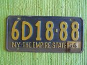 1953 W/ 54 Tag New York License Plate 53 1954 Ny Tag The Empire State 6d18-88