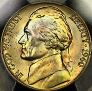 Rainbow Toned 1940 D Jefferson Nickel 5c Pcgs Ms66 Two Sided Pq Color