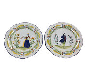 Ethan Allen Quimper Italy Hand Painted Plates Quality Matching Hanging Decor