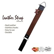 2 In 1 Single Layer Pure Leather Strop With Pouch Sharpening For Razor And Knives